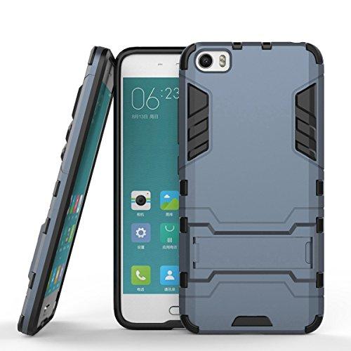Ycloud Tasche für Xiaomi Mi5 Hülle, stärkste Handy Shock Proof Armor Dual Schutzabdeckung Hochfeste PC Kunststoffoberschale Shockproof mit Halterung Schutzabdeckung Dunkelblau