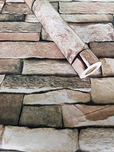 Visario Tapeten Folie 3000-S selbstklebend Steine Naturstein Dekor 10 m x 45 cm Dekorfolie Möbelfolie Tapete 3034