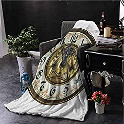 All Season Throw Blanket Clock Antique Theme a Vintage Clock with a Face on It Stylish Modern Design Pattern Gold and White Couch Bed Napping Reading Recliner W70 xL84