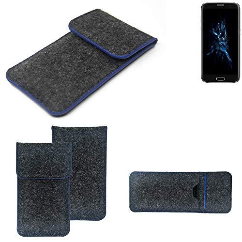 K-S-Trade Handy Schutz Hülle Für Bluboo Edge Schutzhülle Handyhülle Filztasche Pouch Tasche Hülle Sleeve Filzhülle Dunkelgrau, Blauer Rand