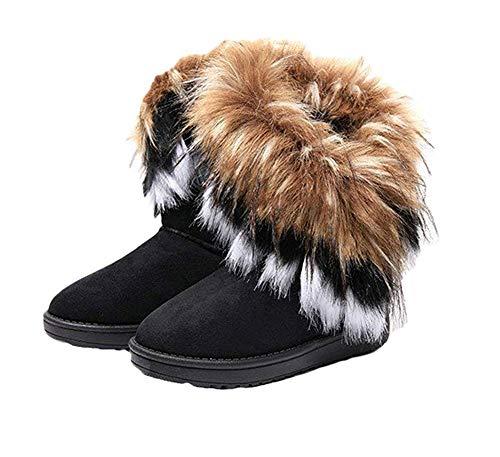 Naughtyangel Women Winter Warm Snow Ankle Boots Low Heels Faux Fox Rabbit Fur Tassel Shoes(black-9)