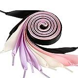 GWHOLE 4 Pares Cordones de Cinta Raso Cordones Seda de Zapatos, 4 Colores de 1.2m -Blanco, Negro, Rosa, Violeta