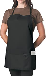 Black Adjustable Bib Apron - 3 Pocket