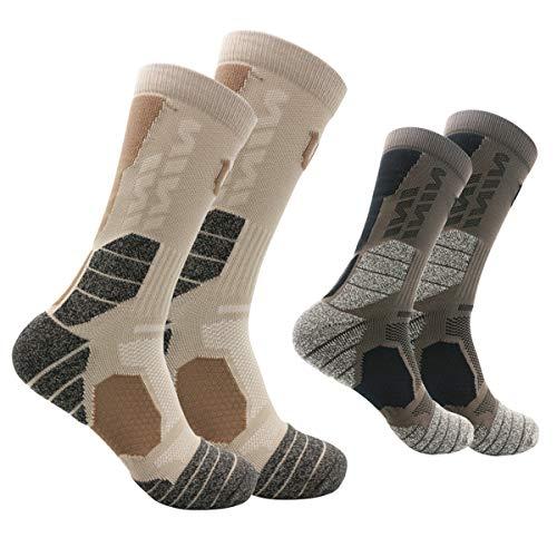 Calcetines de senderismo Premium Pack de 2 calcetines anti-ampolla de algodón acolchado tobillo protección calcetines atléticos para hombres mujeres