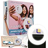 Selfie Ring Light for iPhone and Laptop Zoom Meetings - 60 LED Rechargeable Selfie Light for Phone, iPad, Desktop - 4 Dimmable Colors - Large 600mAh Battery - Giftable, Portable Clip-On Ring Light