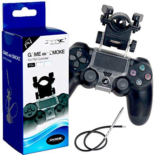 Cachimba PS4 - Soporte Boquilla Shisha para Mando de Consola Ps4 -Accesorios Cachimba - Game and Smoke - Soporte Cachimba para PS4 - Fabricado en Resistente Material ABS