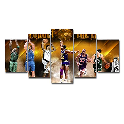 LIVELJ Puzzle 5 teilig Bilder wandbild Leinwandbild wandbilder Wohnzimmer Schlafzimmer Wand Dekoration XXL Tapete/Basketball-Star/gerahmt
