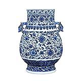 Vases Jarrn Chino con Doble Oreja de dragn, Jingdezhen jarrn de Porcelana Azul y Blanca, jarrn de cermica, jarrn de decoracin del hogar, Altura 31 cm
