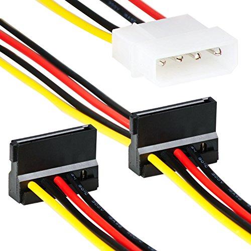 4 Pin Molex zu 2X Sata Splitter | 35cm | Adapter Kabel | 4 Polige Molex/IDE Stromanschluss Female zu 2 x HHD2 15-Pin S-ATA 3 Female | Strom-Kabel für PC Festplatte Motherboard Lüfter Grafikkarte