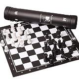 Juego de ajedrez Cuero blanco y negro de ajedrez cuadrado verde tablero de ajedrez for adultos ajedrez magnético juego de puzzle de almacenamiento portátil de entretenimiento al aire libre del tubo Ju
