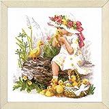 Riolis Kreuzstichpackung Mädchen mit Entlein, Zählmuster Kit de punto de cruz, algodón, multicolor, 3030cm