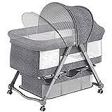 WFWT Cuna Plegable portátil Recién Nacido en Cuna de elevación Cama bebé Cama Multifuncional Comodidad móvil para el Dormitorio/Viajes,4