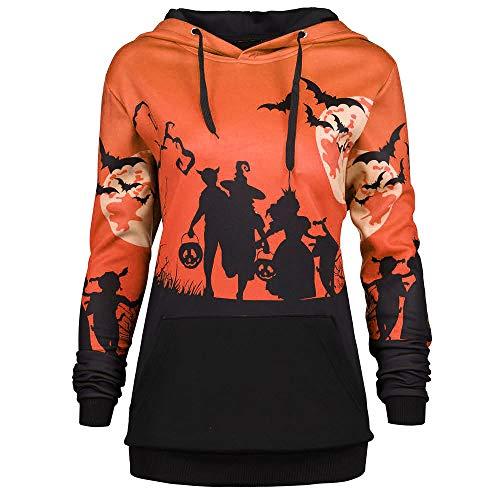 MORCHAN ❤ Tops Champion Femmes Encapuchonné Halloween Lune Chauve Souris Impression Cordon de Serrage Poche Sweat à Capuche Sweat-Shirt Tops(FR-44/CN-M,Orange)