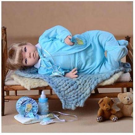 Boneco Bebê Reborn Menino de Cabelos Loiros 53cm Acessórios