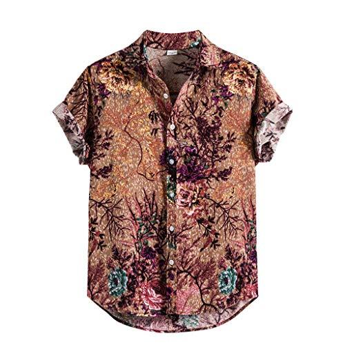 Aoogo Herren Hawaiihemd 3D Gedruckt Muster Kurzarm Aloha Freizeit Hemd Button Down Graphic Hemden Strand Shirts