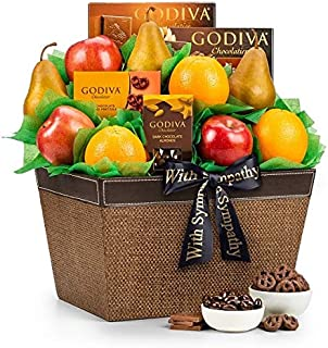GiftTree Fresh Fruit and Godiva Sympathy Gift Basket | Includes Godiva Chocolates, Fresh Pears, Crisp Apples, Juicy Oranges | Display Heartfelt Warmth and Compassion