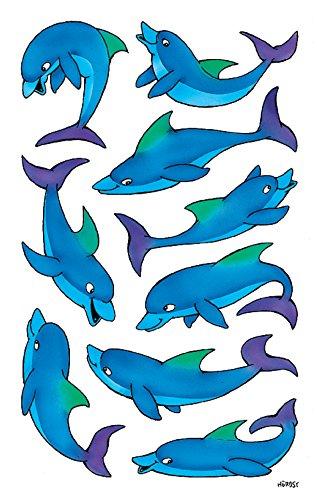 AVERY Zweckform 53444 Aufkleber für Kinder (Delfine, Papiermaterial mit Glitzer) 2 Bögen, 18 Sticker
