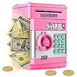 Ltteaoy Hucha electrónica para niños de 4-11 años, Digital Electrónica Contraseña Hucha Dinero Bancos para Chico Chica, Gran Máquina de Ahorro Automático Mini ATM para Monedas y Billetes (Rosa)