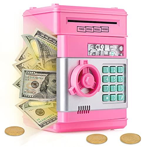 Ltteaoy Spardose für Kinder Passwort Sparschwein Spielzeug Elektronische ATM Geldautomat Geldschein Münzen Geschenke für 3-8 Jahren Mädchen Junge Automatische Papiergeldrolle Sparschwein (Rosa)