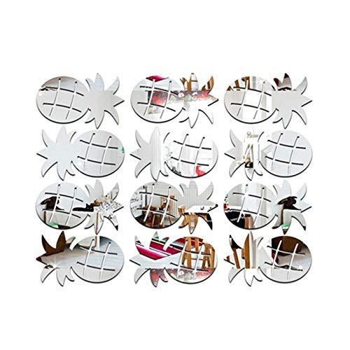 Kicode 12Pcs / Set Ananas Spiegel Wand-Aufkleber DIY kreativer Multi Start-Wandabziehbild-Kunst-Dekoration