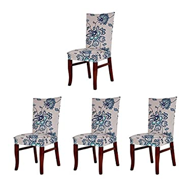 Soulfeel 4 x Soft Spandex Fit Stretch Short Dining Room Chair Covers with Printed Pattern, Banquet Chair Seat Protector Slipcover for Home Party Hotel Wedding Ceremony (Style 5)