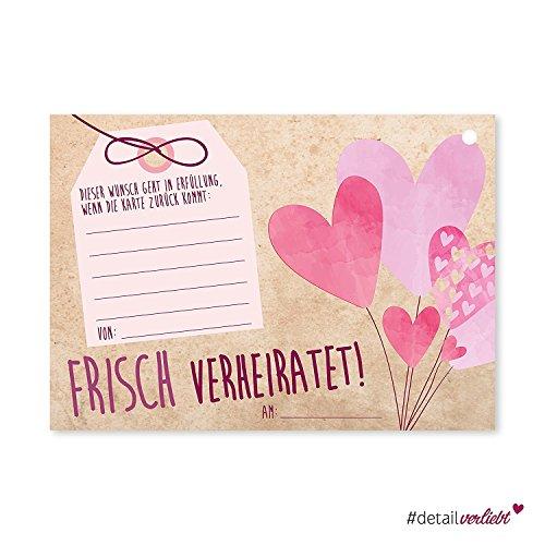 Mooie ballon kaart, set van 50 ansichtkaarten voor de distributie aan een van de gasten, dv_167 - ideaal om de herinneringen van de mooiste dag van je leven ik voldoening, liefde, kaarten, post, bruid paren, ballon, briefkaart, groeten, wensen, geschenken, roze, geponst, bruiloft # liefde voor detail.