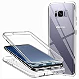 CHIMUCO Funda para Samsung Galaxy S8, 360 Grados Carcasa Transparente Ultrafino Silicona TPU Frente y PC Back Case Protección Integral Funda de Doble Protección - Transparente