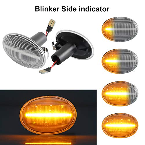 OZ-LAMPE Dynamischer Seitenblinker Blinker Fließender Seitenblinker Klar Für BM-W MINI Cooper R55 Clubman R56 Hatch R57 Cabrio R58 Coupe R59 Roadster