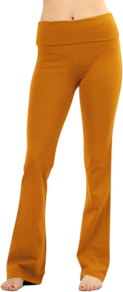 NioBe Clothing Stretchy Fold Over Solid Flare Pants Store Lounge Yoga excellence