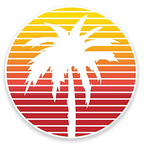 2 x 10cm Palm Tree Vinyl Sticker Decal Laptop Car Bike Tablet Travel Surf #9013