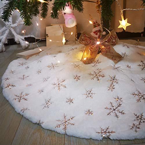 Jupe de sapin de Noël en tissu peluche - 78 cm - Or - Flocons de neige - Blanc - Tapis - Décoration de Noël pour les fêtes de Noël (flocons de neige dorés)