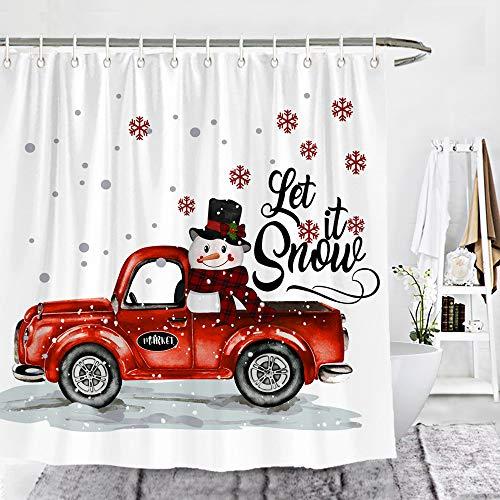 Wencal Christmas Let It Snow Schneemann-Duschvorhang, Weihnachtsmotiv, 183 x 183 cm