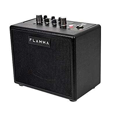 FLAMMA FA05 Electric Guitar Amplifier Digital Combo Amp Bluetooth Mini Portable with 7 Preamp Models 40 Drum Machine AUX IN Support MP3 Format 5 Watt