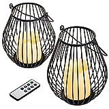 Navaris Velas LED sin Llama - Pack 2X Vela LED con 2X candelabro de Metal y 1x Mando a Distancia - Set de 2 portavelas Decorativo pequeño y Mediano