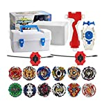 XIXI-POPOMT 12 pcs Gyros Burst Turbo Evolution Metal Fusion Bay Blade Toys Gyro Battling Game Starter Pack Set with 12 Spinning Top + 3 Launchers - White Box