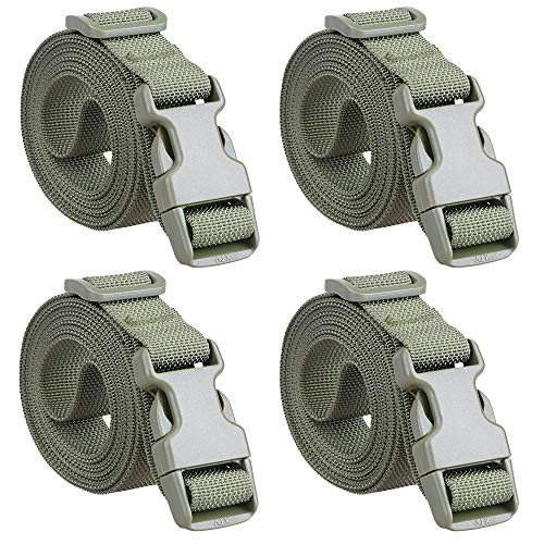 78-Inch Molle Utility Strap 1-inch Belt with Slide-Release Buckle for Backpack (Green(4-Pack))