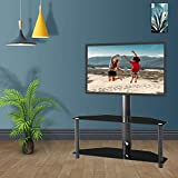 Binrrio Swivel TV Stand Floor TV Stand, Suitable for 32-55 Inch TVs, Height and Angle Adjustable Tempered Glass LCD TV Bracket Plasma TV Bracket for Media Devices (2 Tier for 32-55' 'tvs)