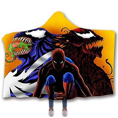 """AMTAN Venom Hooded Blanket 3D Marvel Comics Blanket Warm Wearable Blankets Kids and Adults Leisure Wear Blankets Super Soft Sherpa Fleece Blankets (Kids 51""""x 59"""" inch)"""