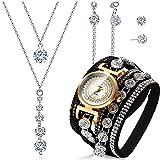 Hicarer 4 Piezas Pulseras de Envolver Retro Juego de Pendientes Collar de Diamante de Imitación de Reloj de Cuarzo...