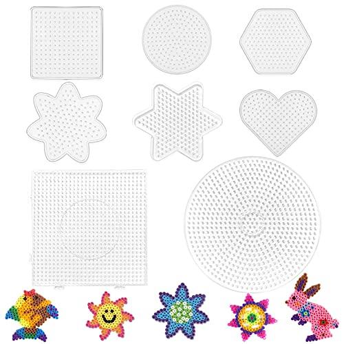 Bügelperlen Steckplatte,8 Stücke Perlenplatte quadratisch,Transparente Steckplatten,Bügelperlen Stiftplatten Set,Perlen Platte Quadrat,Bügelperlen Stiftplatte Transparent,Steckplatten Set