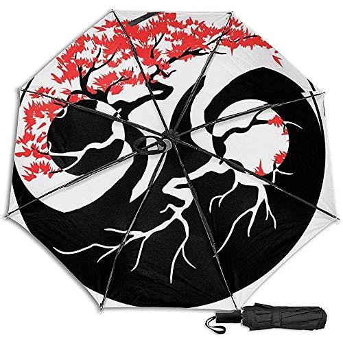 Bonsai-Baum im Yin Yang-Handbuch Dreifachgefalteter kompakter Reiseregenschirm UV-Schutz Stark Winddicht