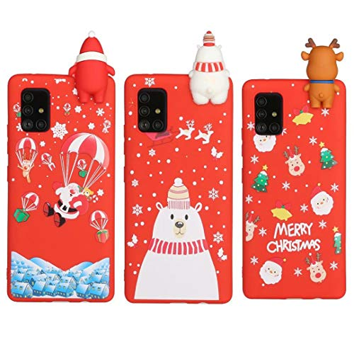 [3 Pack] Christmas Case for Samsung Galaxy S10 Lite/A91, 3D Cartoon Silicone Soft Silicone TPU Shockproof Protective Cases Slim Fit Ultra Thin Bumper Funny Girly Xmas Cover3Pcs-5