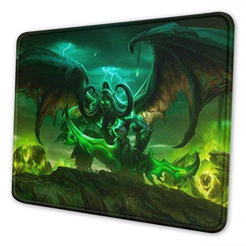 World Warcraft Illidan Mouse Pad with Stitched Edge Premium-Textured Mouse Mat Rectangle Non-Slip Rubber Base Oversized Gaming Mousepad,for Laptop & PC 10 x 12 inch