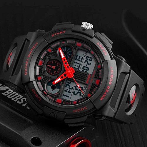 JSL Multi-funcional hombres s deportes reloj electrónico tendencia estudiante personalidad reloj deportes al aire libre camping reloj rojo-rojo