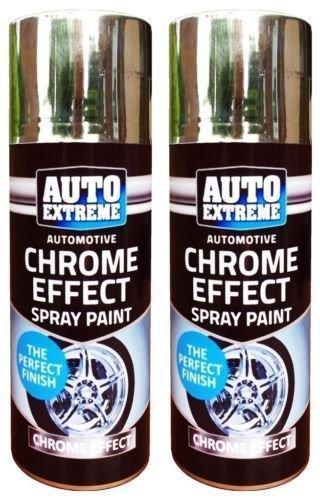 2x CHROM Folie Spiegel Metallic Effekt Auto Spray Paint DIY Auto Aerosol 200ml