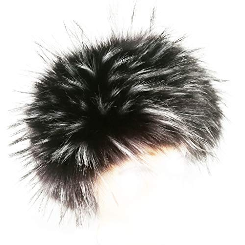 FHQHTH Kunstfell-Stirnband mit Gummizug für Frauen, flauschig, Winter, Ohrwärmer, Ski, kalte Ohrenschützer - Schwarz - Large