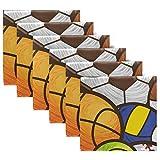 Rulyy Lot de 6 serviettes de table réutilisables en tissu Motif ballon de baseball, football, rugby 50,8 x 50,8 cm