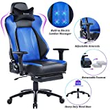 VON RACER Big & Tall 350lbs Massage Gaming Chair with Retractable...