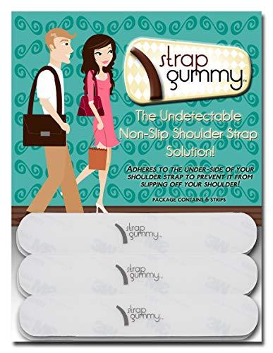 Strap Gummy - Stop Strap Slips - Shoulder Strap Grip Strips Non Slip - Set of 6 Semi Clear