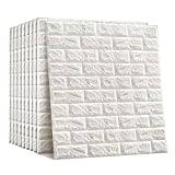 NHsunray 3D Ladrillo Pegatinas de Pared Autoadhesivo Panel Pared Impermeable, 3D DIY Wall...